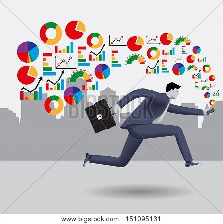 Analyzing trends business concept. Confident businessman in business suit runs with smart phone in one hand and case in other hand. Different kinds of business charts form a cloud around him