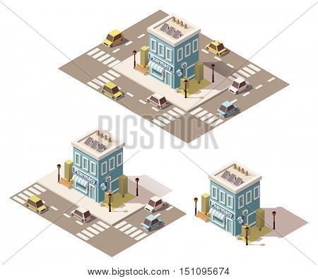 Vector isometric low poly pharmacy building icon