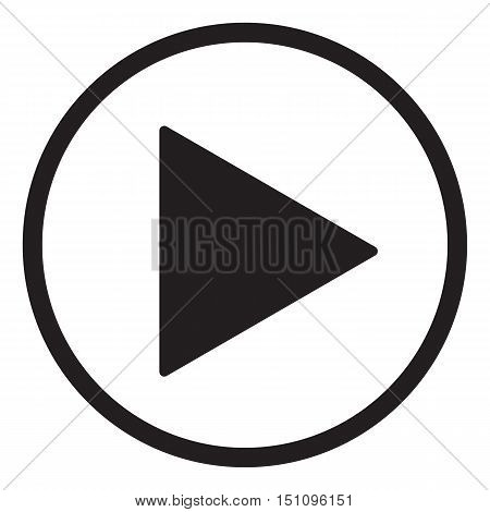 play sign. play button on white background.