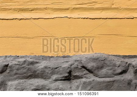 the structure of the plaster in yellow and gray