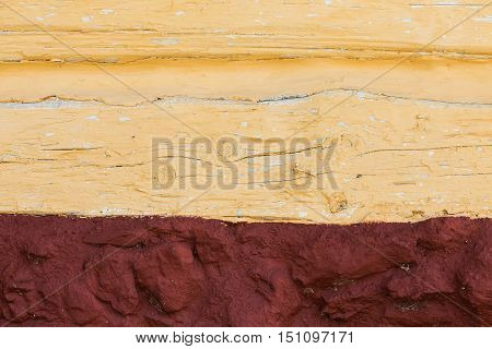 the structure of the plaster in yellow and dark red