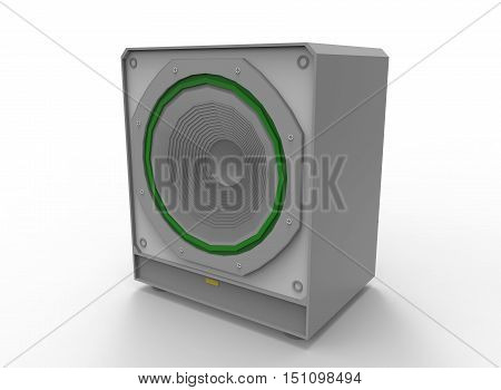 3d illustration of Subwoofer. white background isolated. icon for game web.