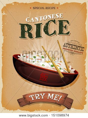 Illustration of a cartoon chinese rice dish in design vintage and grunge textured poster for fast food snack and takeout menu