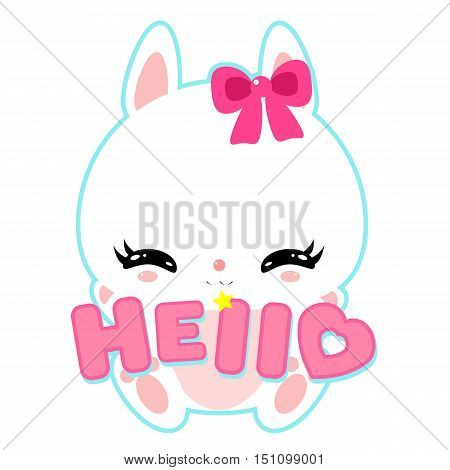 Cute white bunny with the word hello. Suitable for a logo, sticker or card. Children's character.