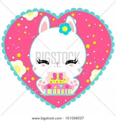 Little cute white bunny with a cake in a heart. Magic world. Birthday. Greeting card. Children's poster. Valentines day.