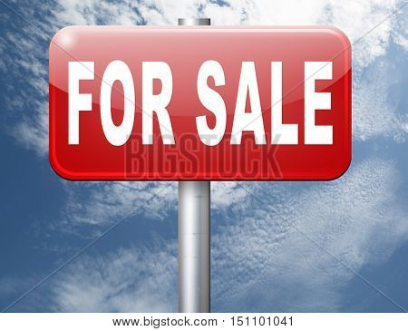 For sale sign, selling a house apartment or other real estate sign. Home flat or room to let icon.  3D illustration