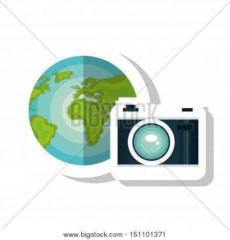 photographic camera device and earth planet globe icon over white background. vector illustration
