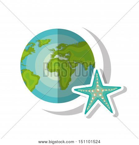 world map globe with blue seastar icon over white background. vector illustration