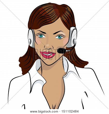 Dispatcher. The image of the smiling african woman talking on a headphone. Vector illustration