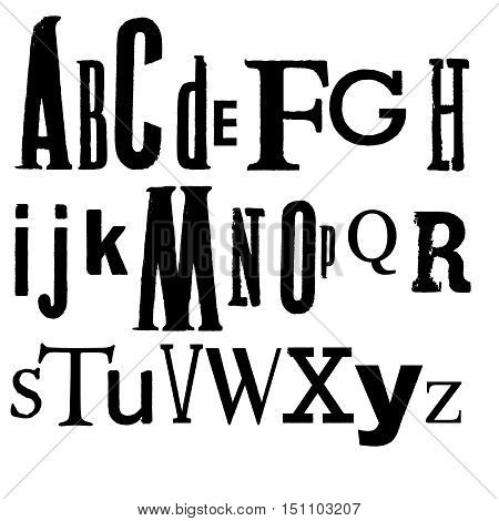 Vintage Vector Printed Alphabet. Various black fonts