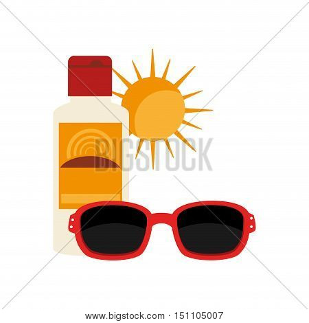 sunblock bottle and sunglasses summer accessory over white background. vector illustration