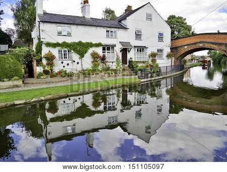 Cottage on the Banks of the Bridgewater Canal, Lymm, Cheshire, England