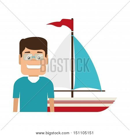 avatar man smiling wearing blue tshirt and sailboat icon over white background. vector illustration