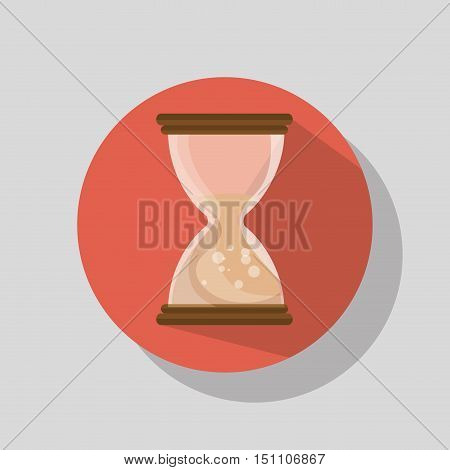 sandclock time device icon over red background. vector illustration