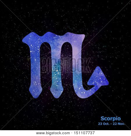 Watercolor Sign Of The Zodiac Scorpio On Star Space Background.