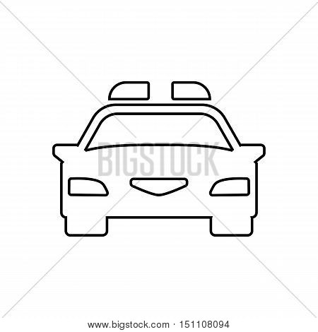 Police car outline icon on the white background. Vector design