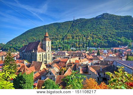 Beautiful cityscape in Brasov, the most beautiful town of Transylvania, in autumn romantic color poster