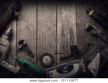 Electric hand tools (screwdriver Drill Saw jigsaw jointer) top view, photo processing: instagram