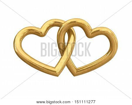 Couple of intersecting golden hearts isolated on white , 3d illustration