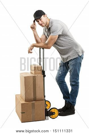 Courier hand truck boxes and packages -on white