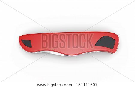Pocket Knife Isolated On A White Background. 3D Rendering