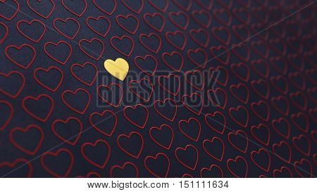Red and golden hearts on dark background , Valentine's day , 3d illustration