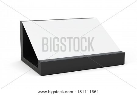 Wooden card holder isolated on white. 3d rendering.