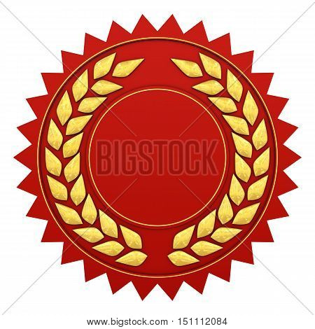 Blank red and gold label with copyspace isolated on white , 3d illustration