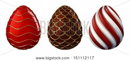 Decorative easter eggs isolated on white , Candy , 3d illustration