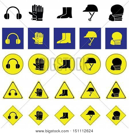 Warning sign of using ear, hand, foot, head and face protection tools such as earmuff, glove, boots, Helmet, nose mask