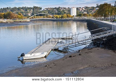 Small jetty at ria de Pontevedra, Galicia, Spain