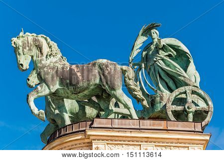 BUDAPEST HUNGARY - FEBRUARY 22 2016: Millennium Monument on the Heroes' Square or Hosok Tere is one of the major squares in Budapest Hungary.