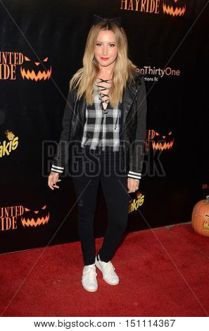 LOS ANGELES - OCT 9:  Ashley Tisdale at the Haunted Hayride 8th Annual VIP Black Carpet Event at the Griffith Park on October 9, 2016 in Los Angeles, CA