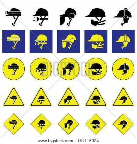 Warning sign of using variety of helmet to protect head when working such as construction and mining