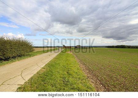 Farm Buildings And Footpath