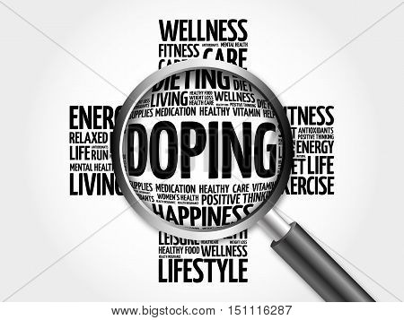 Doping word cloud with magnifying glass health cross concept 3D illustration poster