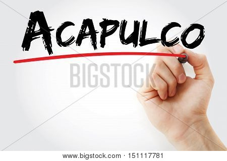 Hand Writing Acapulco With Marker
