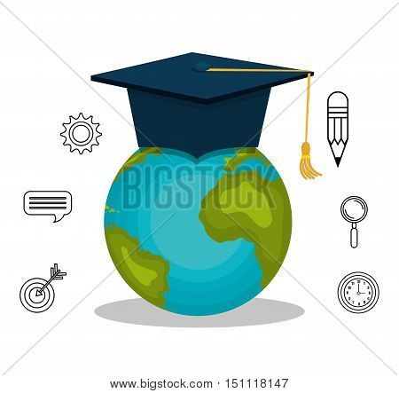earth planet with graduation cap and education icon set over white background. vector illustration