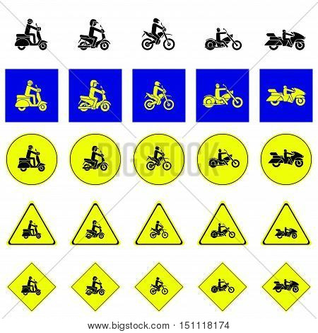 Warning sign of man riding various type of motorbikes include scooter, enduro, chopper, touring