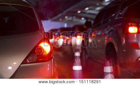 transportation vehicle and traffic concept - Blurred and Bokeh light of traffic jam  evening in city life