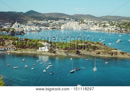Landscape view of Cadaques on Mediterranean seaside, Costa Brava, Catalonia, Spain
