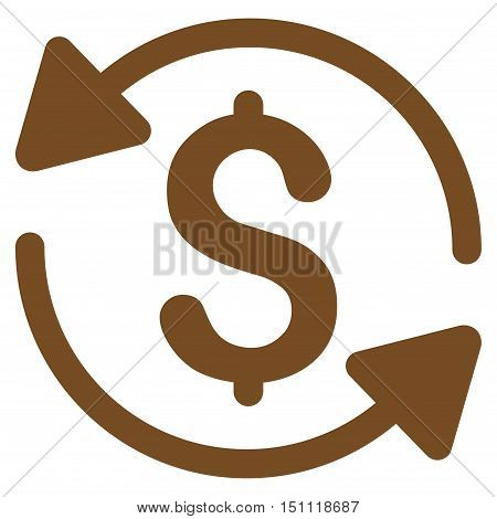 Money Turnover icon. Glyph style is flat iconic symbol with rounded angles, brown color, white background.