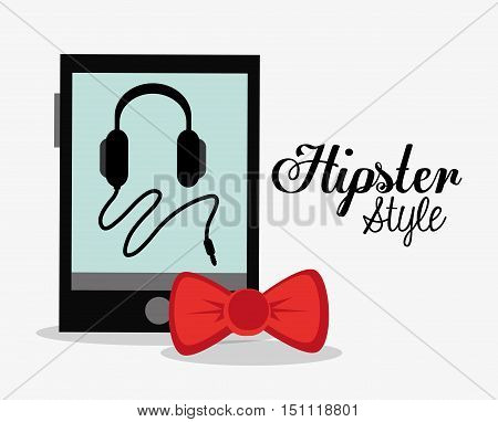 Headphone bowtie and smartphone icon. Hipster style fashion and vintage theme. Colorful design. Vector illustration