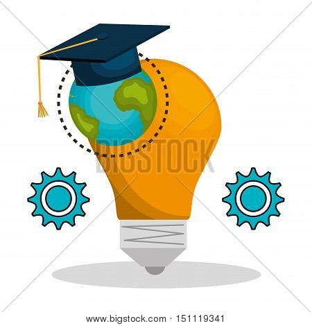 bulb light and earth planet with graduation cap and gears over white background. vector illustration