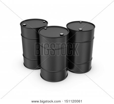 3d rendering of three black barrels isolated on a white background. Petroleum recourses. Oil production. Fabrication of gasoline.