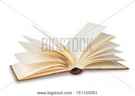 empty opened photo album on a white background