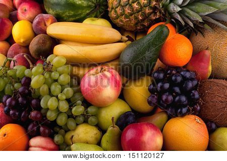 Colorful collection of different fresh fruits, background.