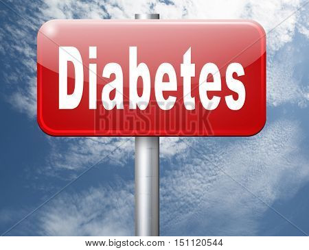 Diabetes find causes  and sceen for symptoms of type 1 or 2 prevention by dieting or treath with medication 3D illustration
