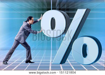 Businessman in high interest rates concept
