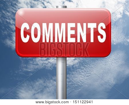 Comments road sign, feedback on blog and give your customer comment opinion and testimonials 3D illustration